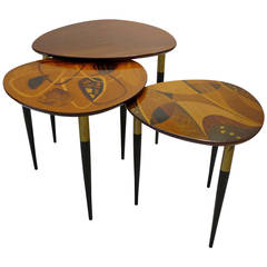 Erno Fabry Nest of Tables with Exotic Wood Inlay