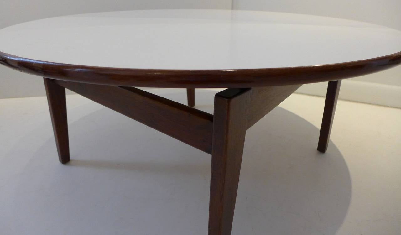Jens Risom Cocktail Table with White Laminate Top For Sale at 1stdibs
