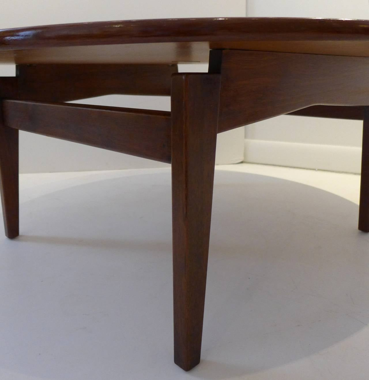 Laminated Jens Risom Cocktail Table with White Laminate Top For Sale