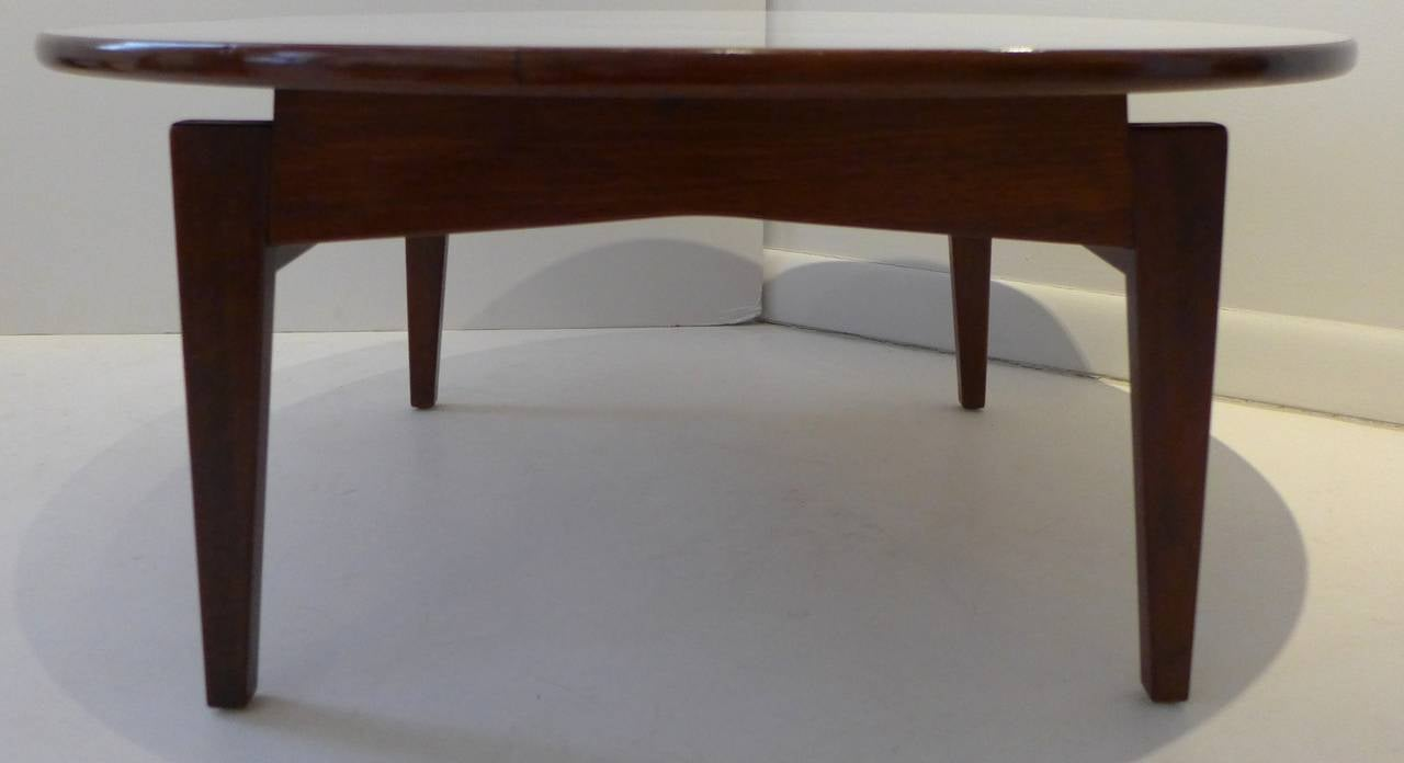Mid-Century Modern Jens Risom Cocktail Table with White Laminate Top For Sale