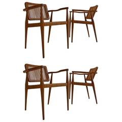 Set of Four Chairs by Marcel La Riviere for Ficks Feed