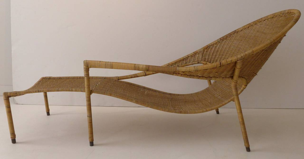 Pair of sculptural wicker lounge chairs by francis mair at for Art nouveau chaise lounge