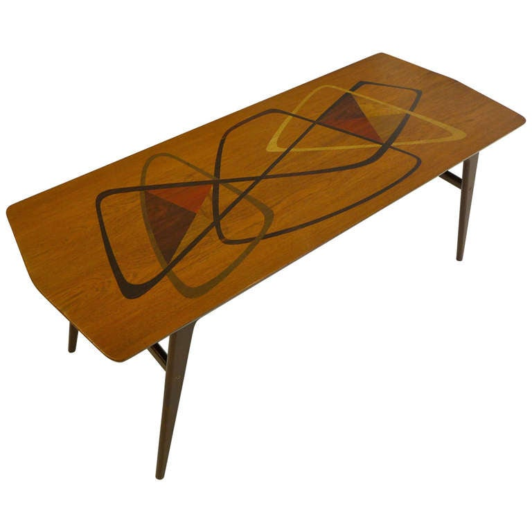 Midcentury Marquetry Cocktail Table