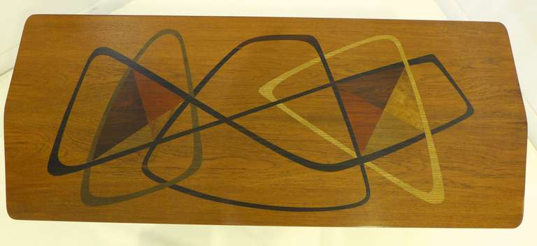 Mid-Century Modern Midcentury Marquetry Cocktail Table For Sale