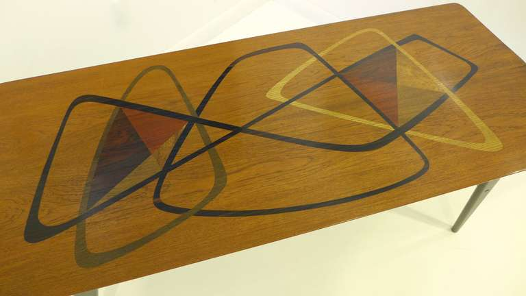 Italian Midcentury Marquetry Cocktail Table For Sale