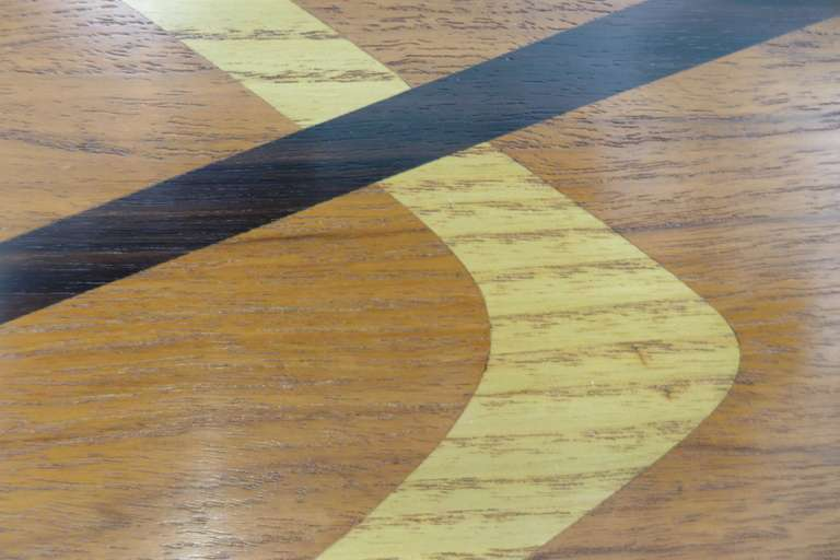 Walnut Midcentury Marquetry Cocktail Table For Sale