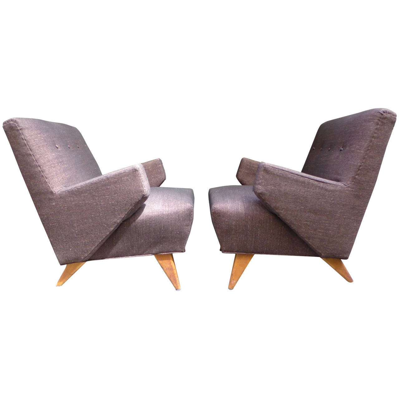 Pair of Early Jens Risom Lounge Chairs for Knoll at 1stdibs