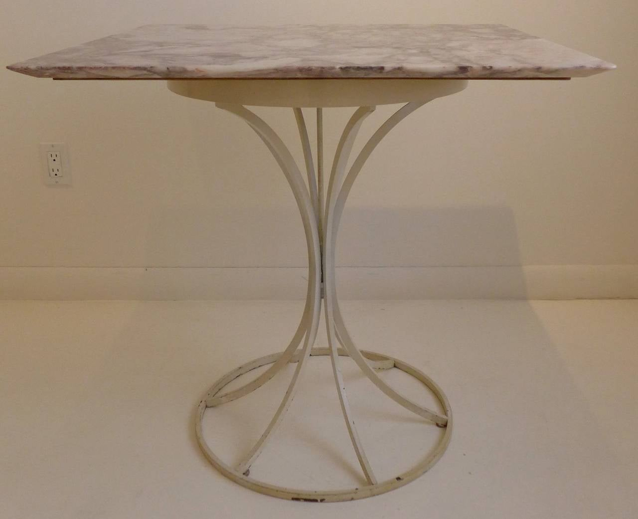 American Laverne International Flower Stem Table with Marble Top For Sale