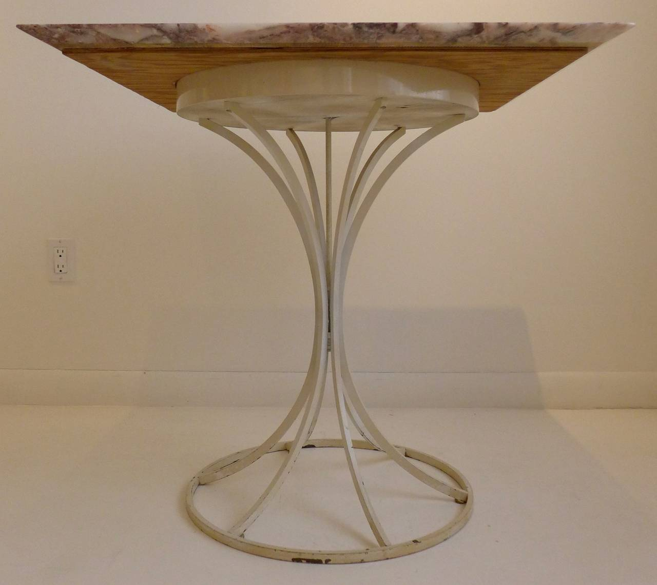 Lacquered Laverne International Flower Stem Table with Marble Top For Sale
