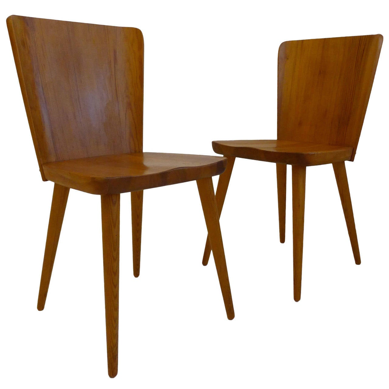 Pair Of Mid Century Swedish Chairs In Pine 1