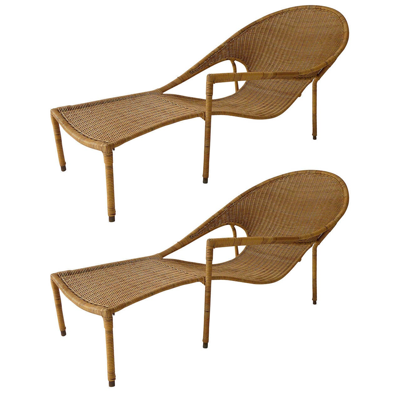 Pair Of Sculptural Wicker Lounge Chairs By Francis Mair At