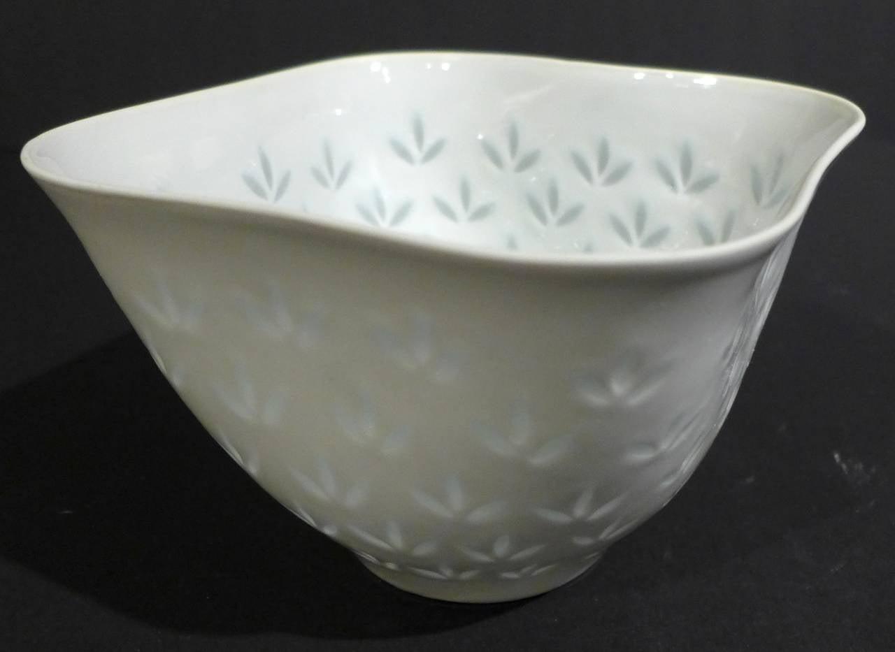 Scandinavian Modern Rice Porcelain Bowl by Friedl Kjellberg for Arabia