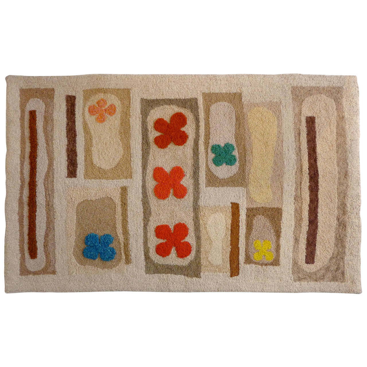 Hand-Tufted Mid-Century Rug At 1stdibs