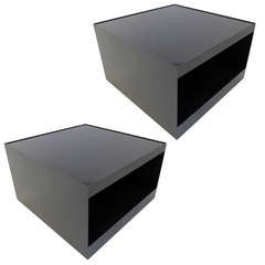 Pair of Joe D'Urso Rolling Tables in Black