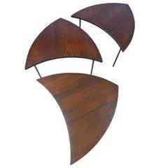 Set of Three Peter Hvidt Crescent-Shaped Side Tables