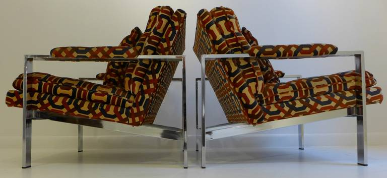 Pair of Milo Baughman Lounge Chairs In Excellent Condition For Sale In New York, NY