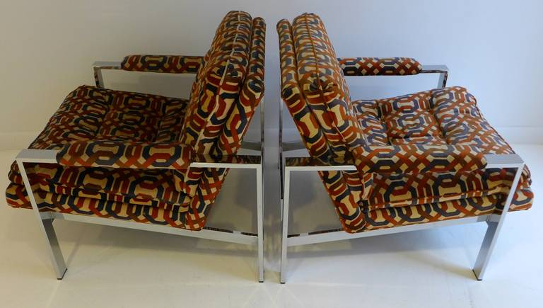 American Pair of Milo Baughman Lounge Chairs For Sale