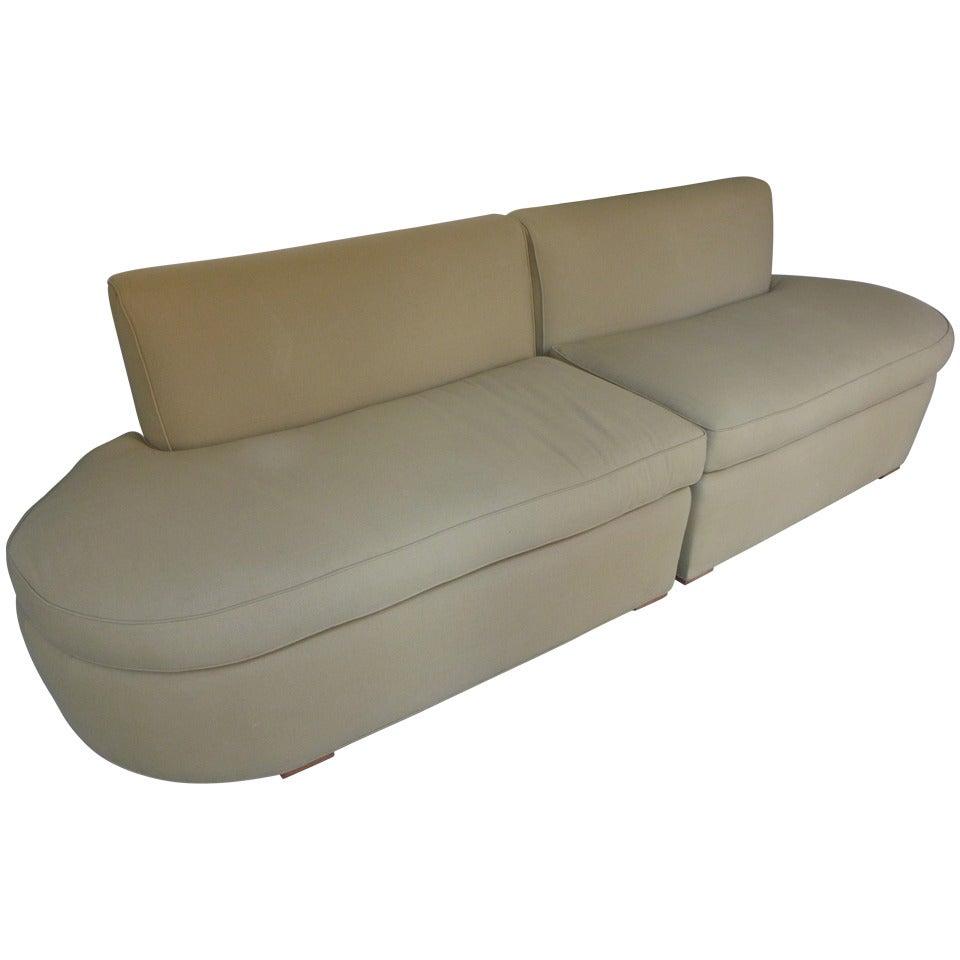 moderne curved sectional sofa at 1stdibs. Black Bedroom Furniture Sets. Home Design Ideas