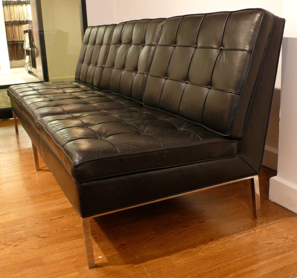 Knoll Armless Sofa in Original Black Leather at 1stdibs
