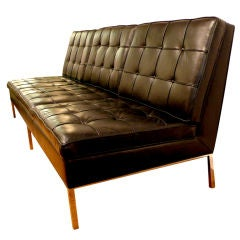 Knoll Armless Sofa in Original Black Leather