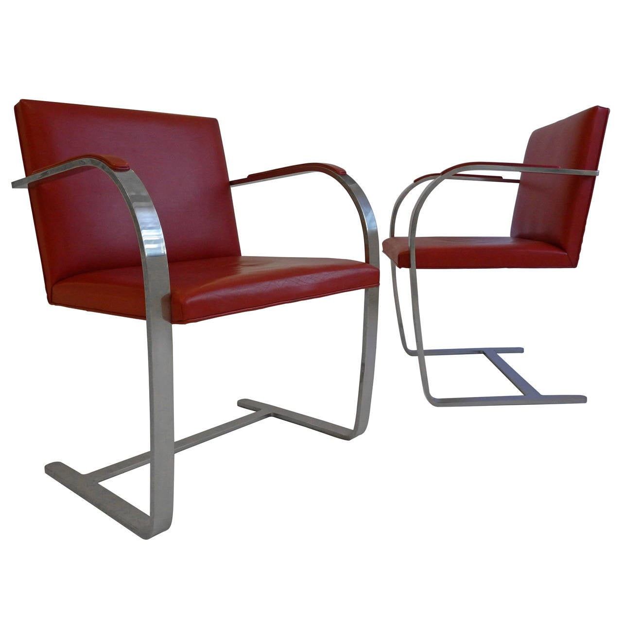 Vintage Pair of Knoll Brno Chairs in Red Leather at 44stdibs | brno furniture fair