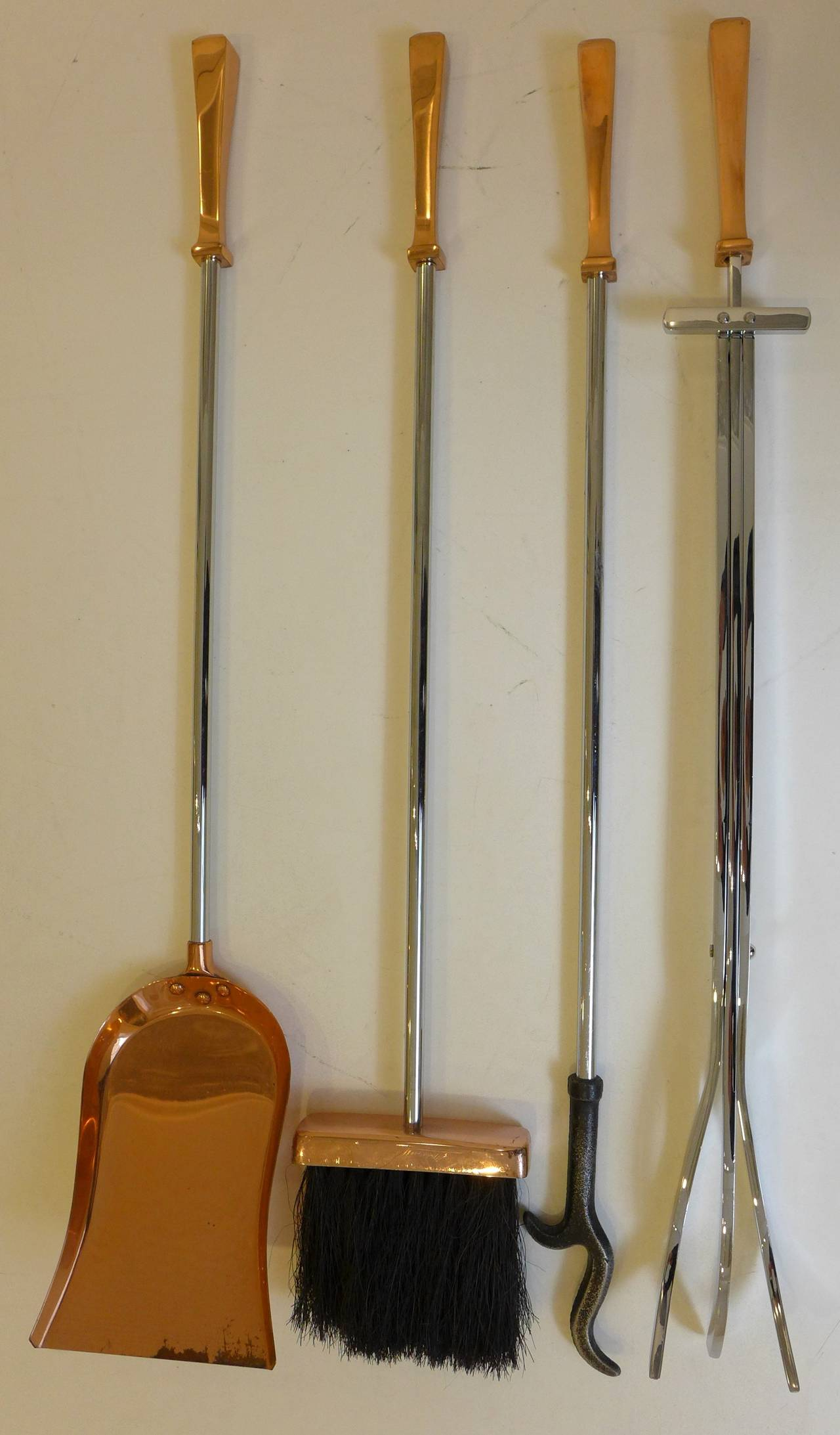 Copper and steel fireplace tool set at stdibs