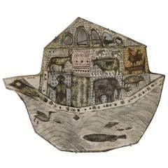 Ceramic Plaque of Noah's Ark by Rut Bryk