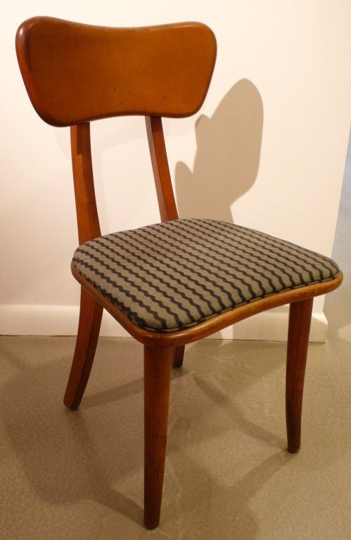 Rare, award-winning chair with adjustable back by Ann Hatfield and Martin Craig, designed for MoMA's 1941 Organic Design in home furnishings competition. Of solid birch; reupholstered. Two available, priced separately.