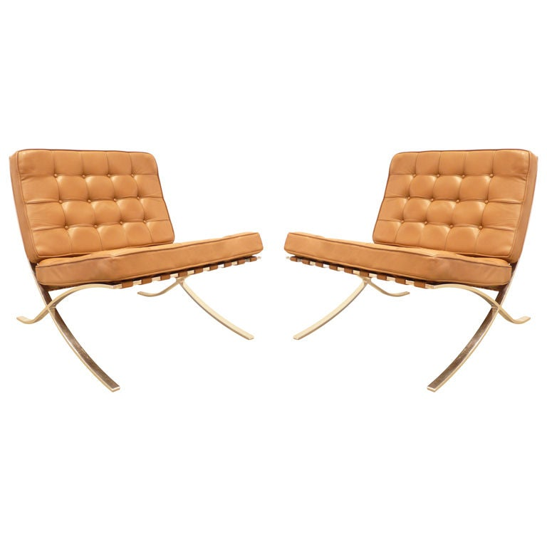 vintage pair of brown leather knoll barcelona chairs at 1stdibs