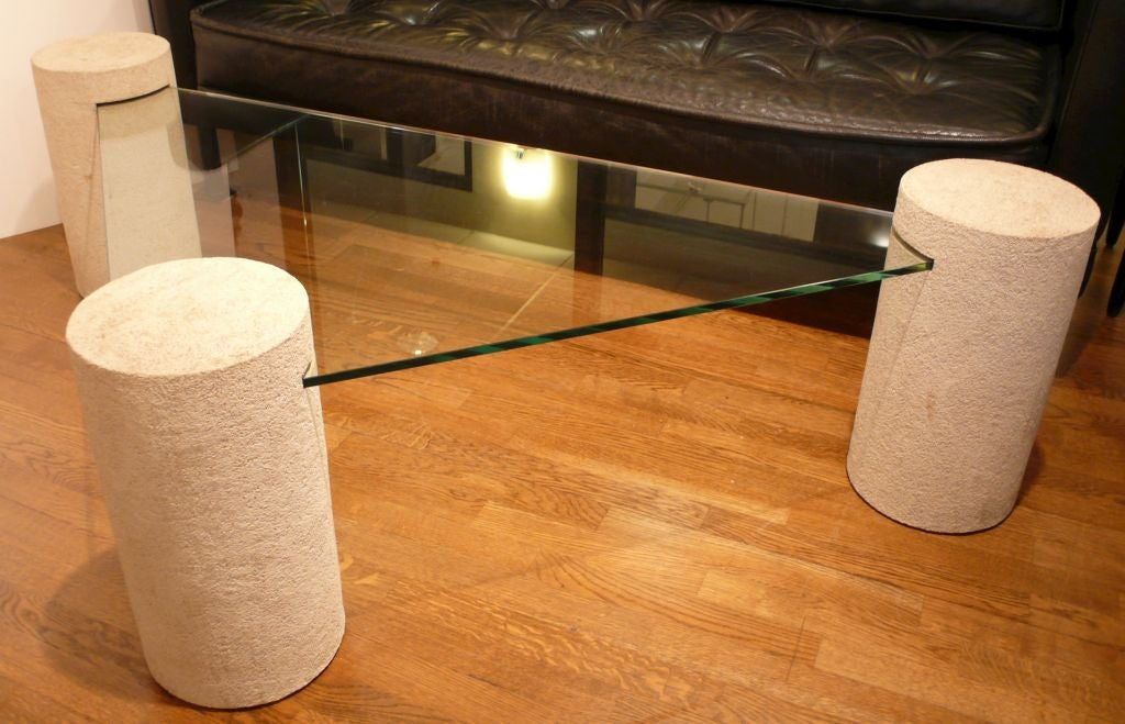 Glass And Faux Concrete Coffee Table At 1stdibs