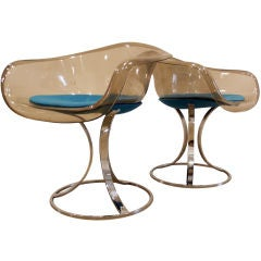 Pair of Peter Hoyte Lucite and Chrome Chairs