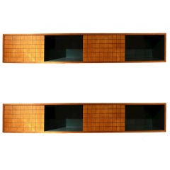 Terrific and Rare Pair of Norman Cherner Hanging Cabinets
