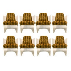 Set of Eight Vladimir Kagan Lucite Barrel Chairs