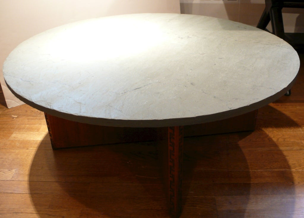 Frank Lloyd Wright Cocktail Table With Slate Top At 1stdibs