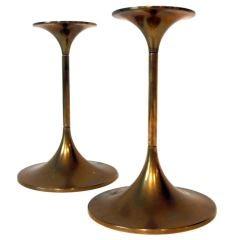 Pair of Max Bruel Brass Candlesticks