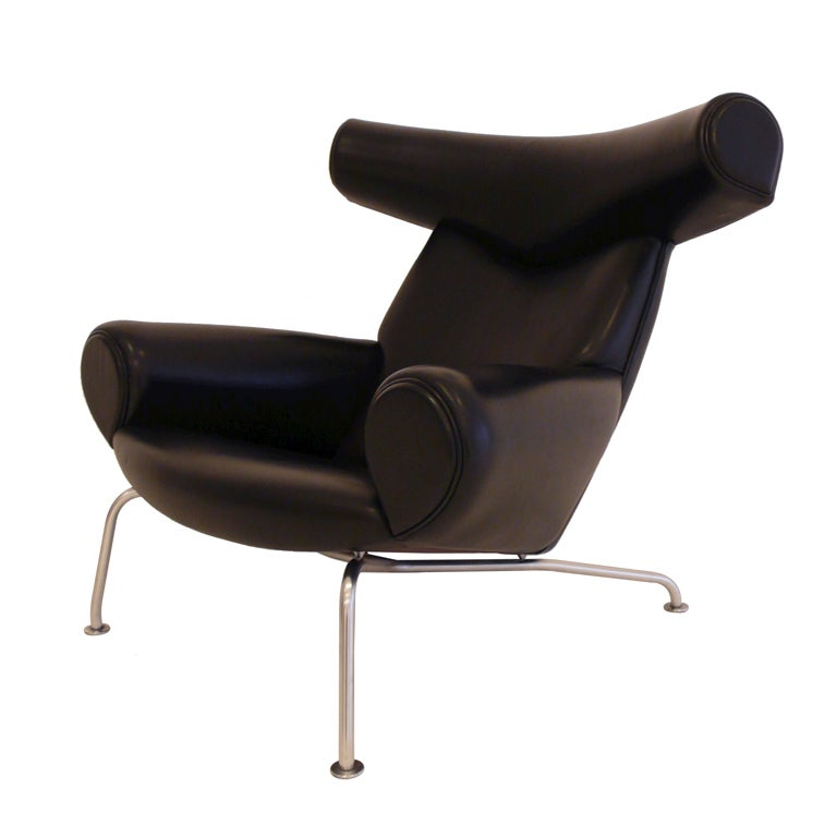 hans wegner ox chair in black leather at 1stdibs. Black Bedroom Furniture Sets. Home Design Ideas