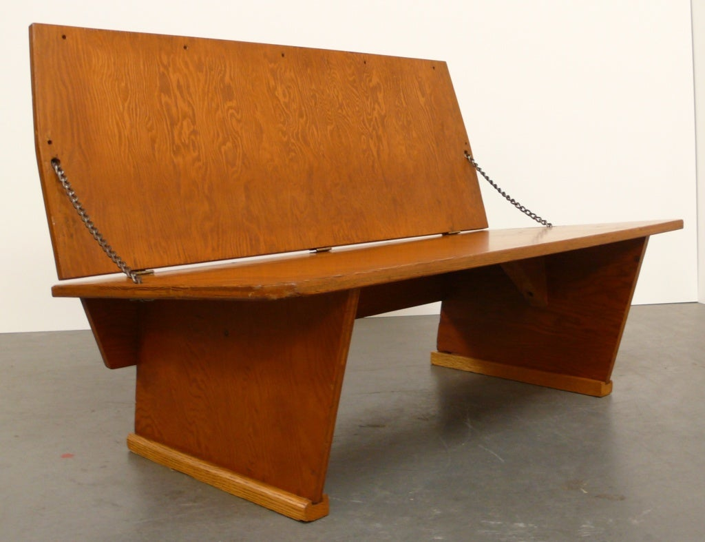 Frank Lloyd Wright Bench For Sale. Folding Double Height Bench Of Pine  Plywood, Wood Blocking, And Steel Chain From