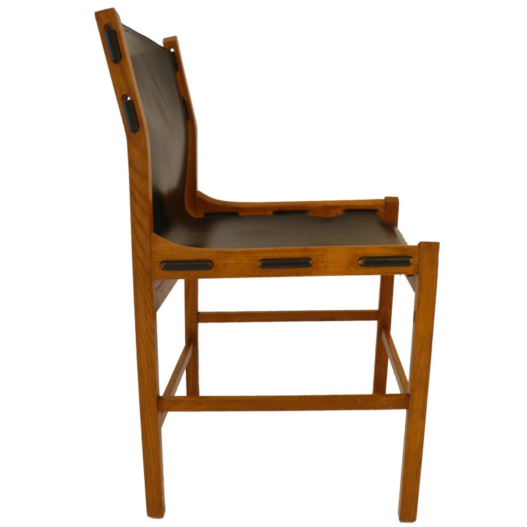 Italian Wooden Side Chair With Leather Sling At 1stdibs