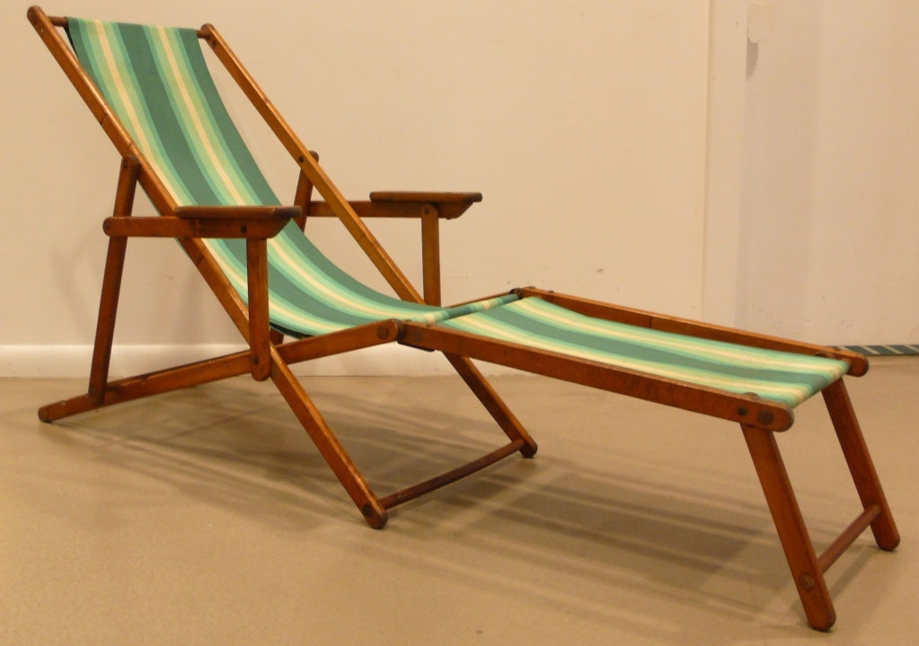 Two-piece folding deck chair with canvas sling, c. 1950. Four- - Antique Deck Chairs Antique Furniture