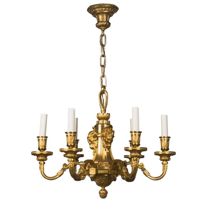 A Six light Gilded Bronze Chandelier at 1stdibs