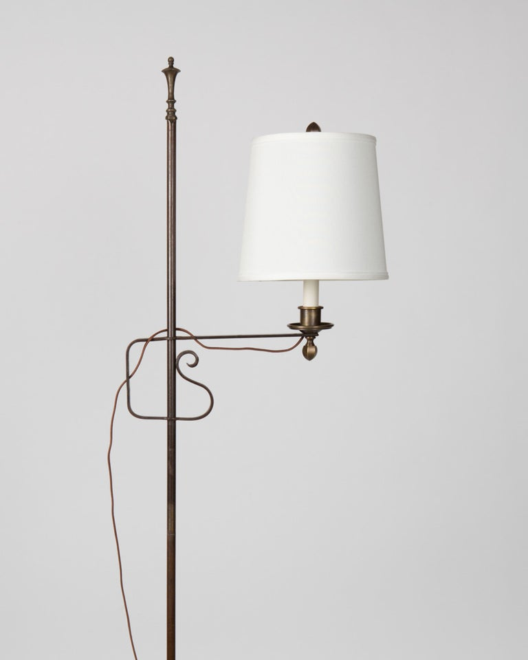 an adjustable height wrought iron floor lamp at 1stdibs. Black Bedroom Furniture Sets. Home Design Ideas