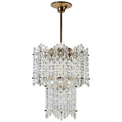 Orrefors Chandelier with Vintage Austrian Glass Designed by Carl Fagerlund