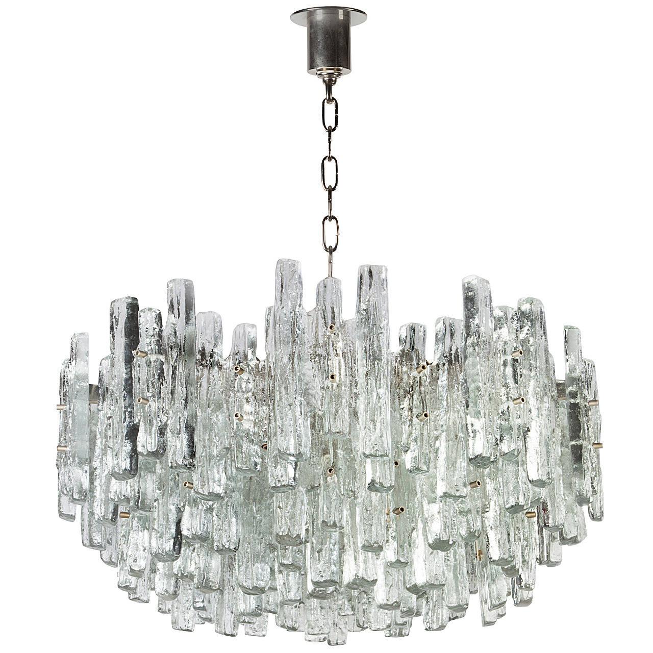 Large Nickel J.T. Kalmar Chandelier with Ice-Style Austrian Crystal Prisms