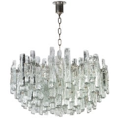 Large Nickel J.T. Kalmar Chandelier with Ice-Style Austrian Crystal Prisms