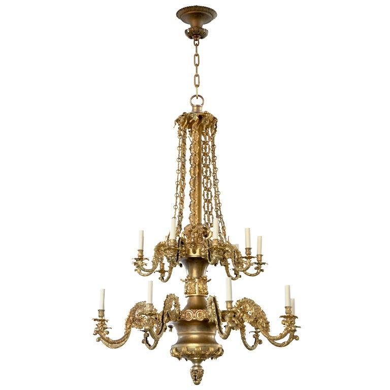 An 18-light gilt brass chandelier