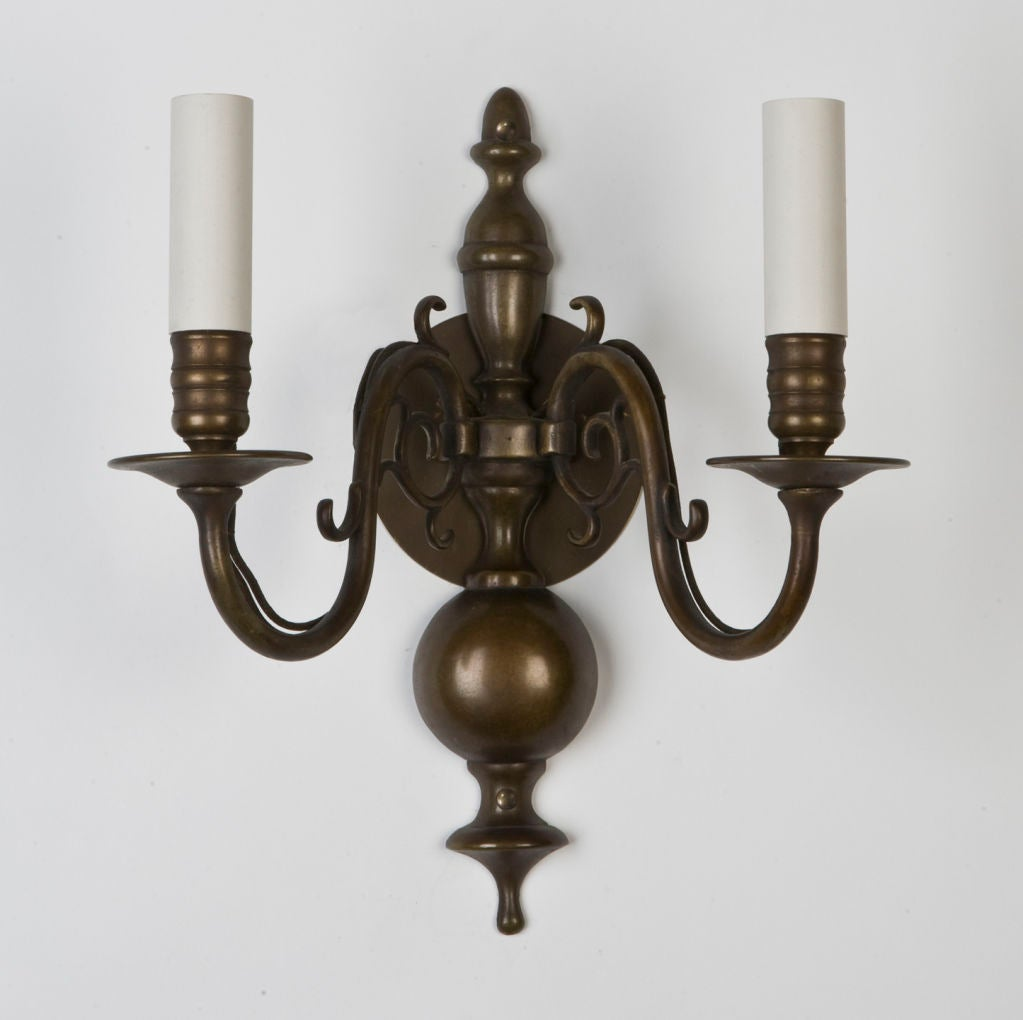 A Pair of Antique Dark Bronze Sconces at 1stdibs