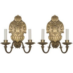 A pair of double-light sconces by the Sterling Bronze Co.