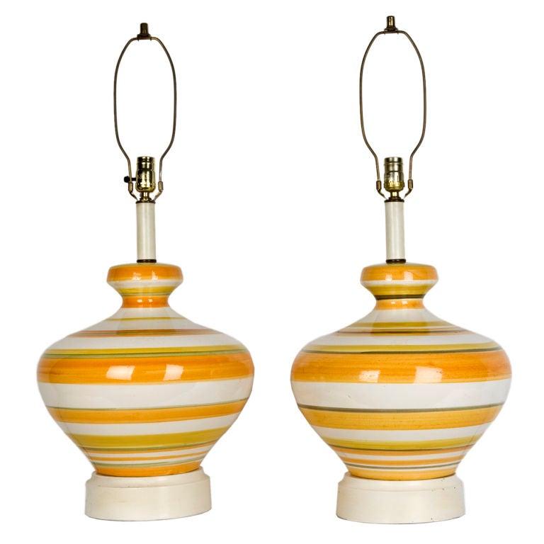 Striped ceramic table lamps