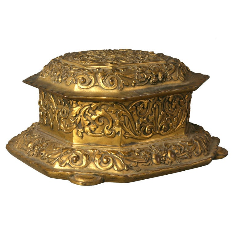 A gilt copper jewelry box by E. F. Caldwell