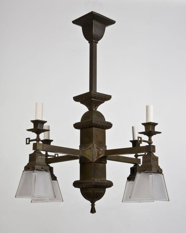 Arts and crafts chandelier at 1stdibs for Arts and crafts flush mount lighting